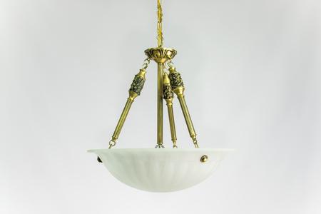 Chandelier golden color in greek style Stock Photo
