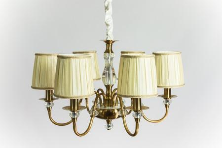 Chandelier vintage antique golden color with cloth plafonds