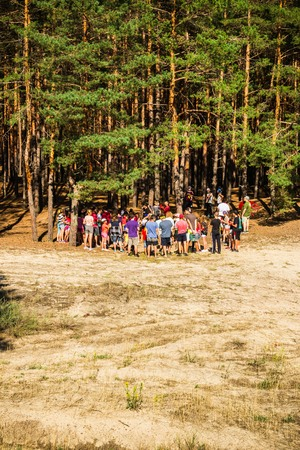 A group of young people teenagers in a pine forest play rest are competing vertical