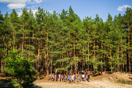 A group of young people teenagers in a pine forest play rest are competing horizontal
