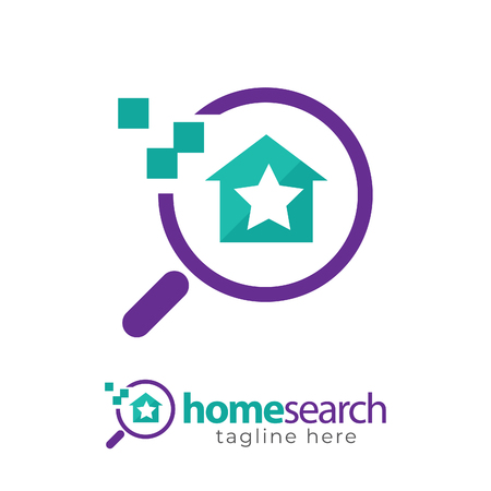 flat and modern home search icon