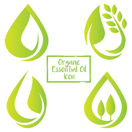 green organic essential liquid oil drop icon