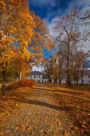monasticism: Island Konevets on lake Ladoga. Konevsky monastery, road to the monastery. Stock Photo