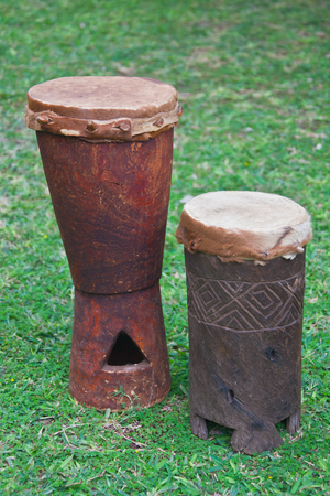 Drums of the Venda people of the Limpopo province. Medium and small drums made of wood and leather. South Africa,