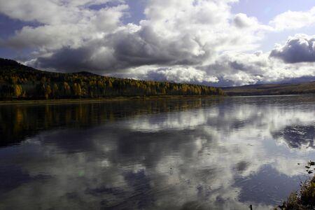 River Lena in the Siberian taiga. Ust-Kut, Irkutsk region, Russia Standard-Bild