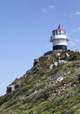 The building of the upper tower of the lighthouse on the Cape of Good Hope. A lighthouse on the southern tip of the Cape Peninsula.