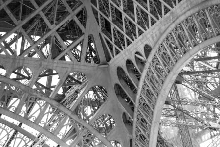 Metal structure of the Eiffel tower,  Patterns and design of metal structures and attachment points and intersections of the side surfaces of the tower. 스톡 콘텐츠 - 149920314