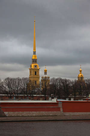 View of the Peter and Paul fortress and Cathedral from the river Neva. St. Petersburg Russia; 에디토리얼