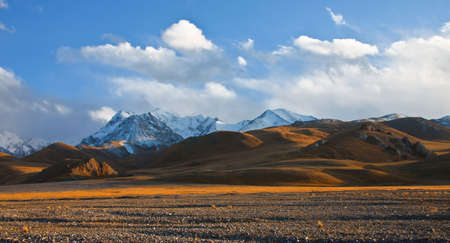Steppe pastures in the foothill valleys of the Tien Shan in Kyrgyzstan. View of the mountain landscape in the border areas of the Asian country.