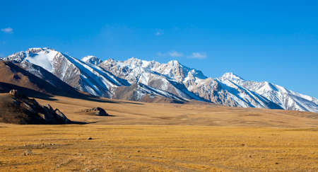 Mountains and steppes on the slopes in a mountain valley on an autumn morning in Kyrgyzstan. View of the mountain landscape in the border areas of the Asian country.