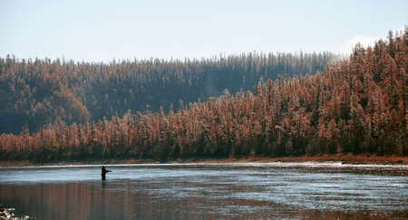 Profile of a fisherman on the background of the taiga river in autumn. Siberian river in the morning in September. Krasnoyarsk territory, Siberia, Russia, Asia,