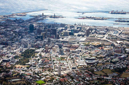 View of the Central part of Cape town from Table mountain. The port of Cape town, surrounding buildings, construction, transport and cultural sites of the historical and business center. Africa, 스톡 콘텐츠 - 153787587