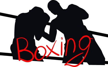 The illustration shows the silhouette of a boxing match.