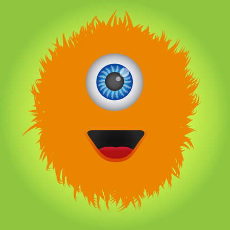 Cute and funny orange monster
