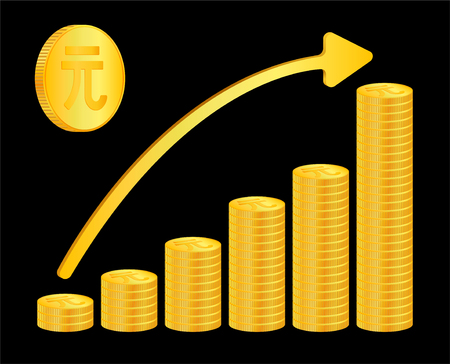 Coins currency increase,  growth. isometric. 3d. sign. money. gold. vector. time. China, yuan,  CNY