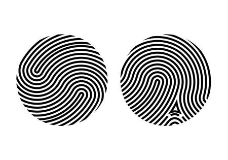 Circle fingerprint icon design for app. Digital touch scan identification or electronic sensor authentication. Finger print flat scan. Biometric security system concept with fingerprint. Vetores