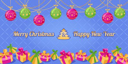 season s greeting: Christmas New Year greeting card. Vector illustration.