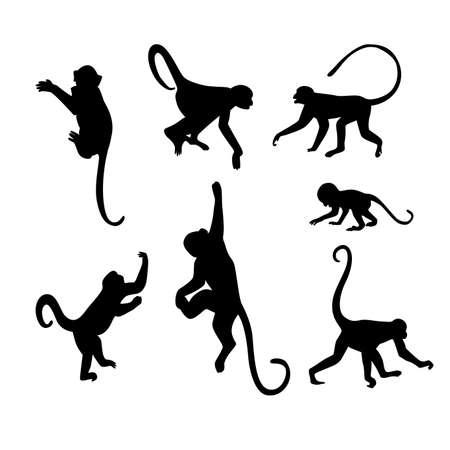 猿のシルエット コレクション - イラスト  イラスト・ベクター素材