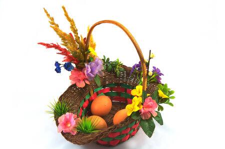 Three eggs in basket for celebrating on easter prepare