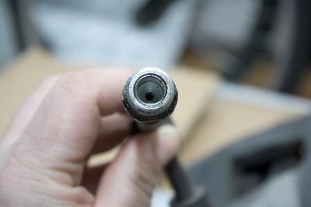brake caliper: hoses to connect the brake caliper Stock Photo