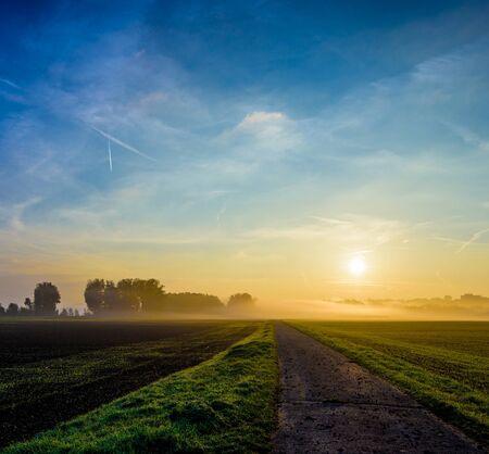 epic foggy autumn glorious countryside sunrise panorama,path,horizon