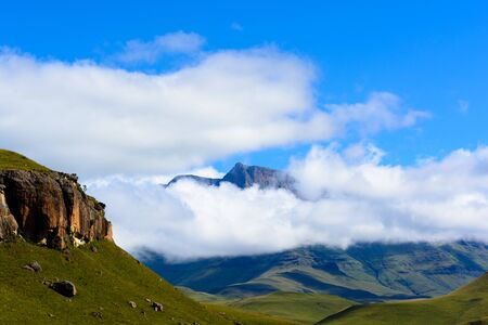 South Africa Drakensberg,Green Giants Castle Mountain Panorama 版權商用圖片