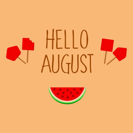 Hello August background with watermelon. Vector illustration  イラスト・ベクター素材