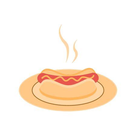 Hot dog on a plate. Fast food menu. Vector illustration
