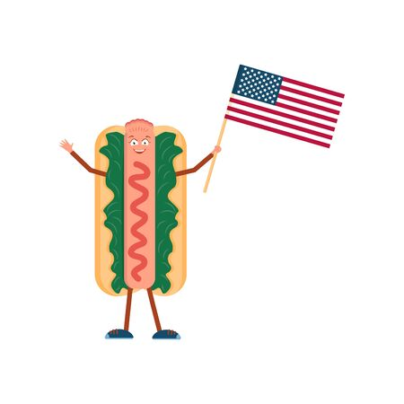 Hot dog with American flag. Vector illustration. Fast-food meal. Street lunch