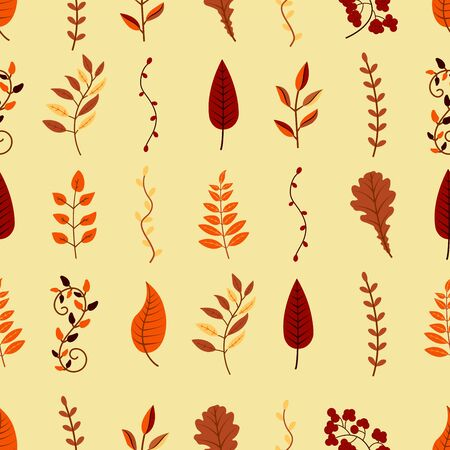 Autumn background from leaves and branches of different trees. illustration. Warm retro colors Фото со стока