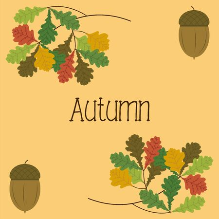Autumn background with oak branches and acorns. Illustration Illusztráció