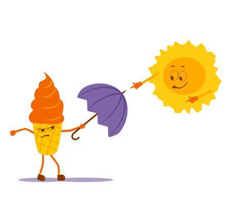 ice cream and sun.  illustration