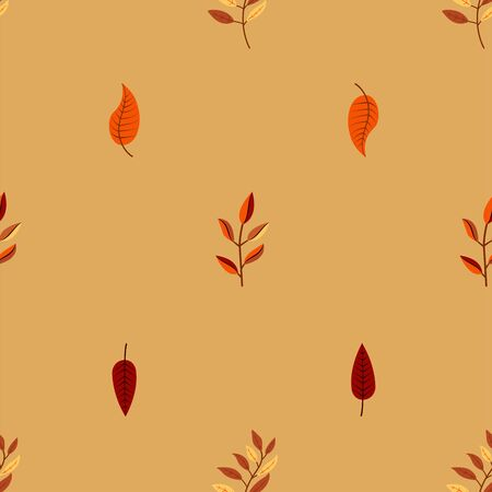 A seamless pattern with an interesting different colorful tree branch and leafs illustration