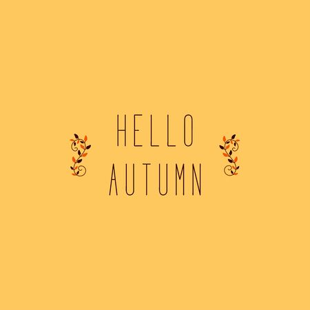 Elegant tree branches are located on the sides with the words Hello Autumn. Seasonal concept in gentle orange tones. Illustration background  イラスト・ベクター素材