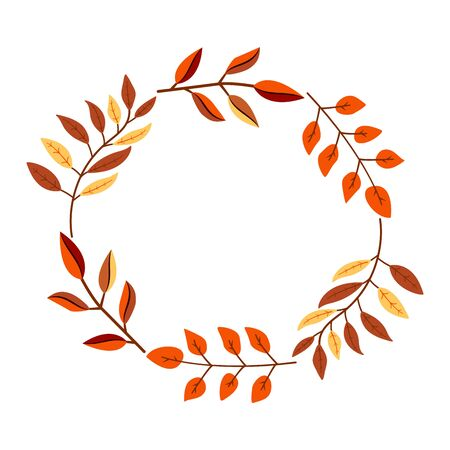 Bright colorful autumn branches circle frame for design on white, stock illustration