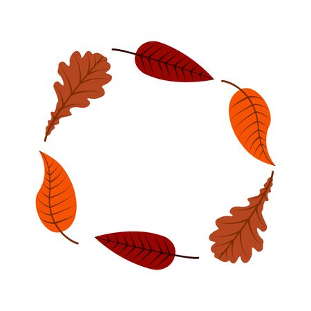 Bright colorful autumn leaves circle frame for design on white, stock illustration