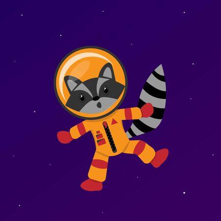 Raccoon in space, colorful character illustration, universe concept. Stylized cartoon animal face