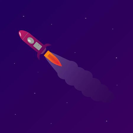 Rocket in space, colorful illustration, concept of the universe. Stylized cartoon