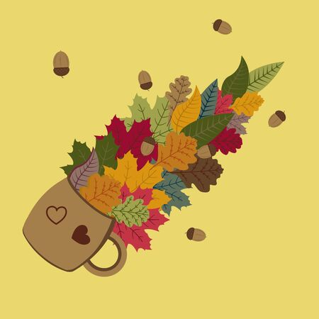 Autumn leaves and acorns pour out of a lying mug colorful illustration 版權商用圖片 - 129975366