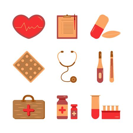 Medical supplies icons for doctor profession illustration. Health care services concept. Set