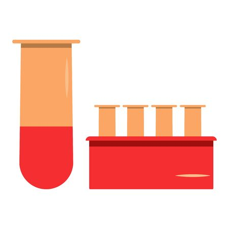 Set medical flasks for blood analysis and testing. Icon. Flat medical care illustration. Scientific research