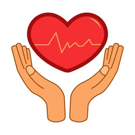 Heart in hands, theme of medicine, treatment and health care. Icon illustration. Flat graphic Banco de Imagens - 130031648