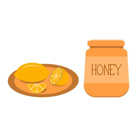 A jar of honey, a natural product made by bees. A plate of lemon, help with colds, a tasty and healthy dessert and fruit, flu prevention. Colorful illustration. Icon. Reklamní fotografie