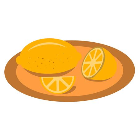 A plate of lemon, help with colds, a tasty and healthy fruit, flu prevention. Colorful illustration. Icon.