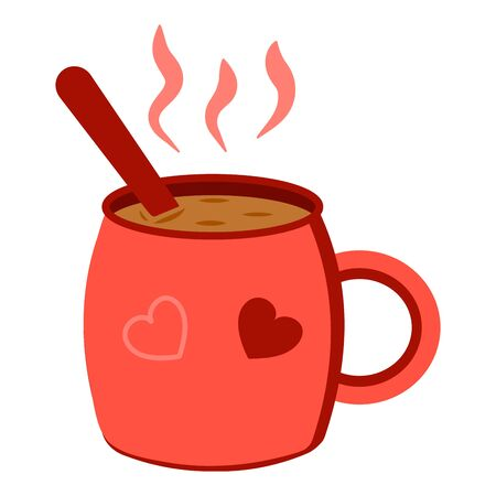 Red mug with a hot drink tea, coffee or cocoa. Icon illustration. Autumn or winter mood. Warming drink