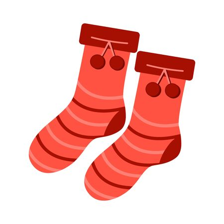 Red socks with pompons. Warm clothes in the cold season. Icon illustration. Sticker. Cute red knitted wool socks. Cold weather, winter or autumn outdoor leisure activity