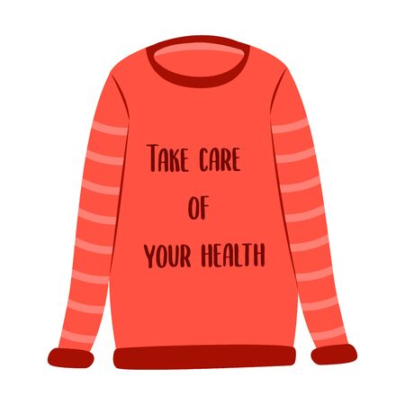 Red warm sweater with the words take care your health. Warm clothes in the cold season. Icon illustration. Sticker. Cold weather, winter or autumn outdoor leisure activity 写真素材 - 130031661