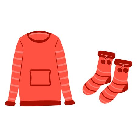 Red sweater and red socks. Warm clothes in the cold season. Set. Icon illustration. Sticker 写真素材 - 130031686