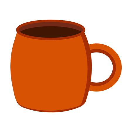 Brown mug for a hot drink tea, coffee or cocoa. Icon illustration. Tableware. Kitchenware. Warming drink