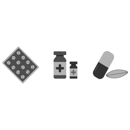 Medical supplies icons for doctor profession illustration. Health care services concept. Set pills Banco de Imagens - 130031723